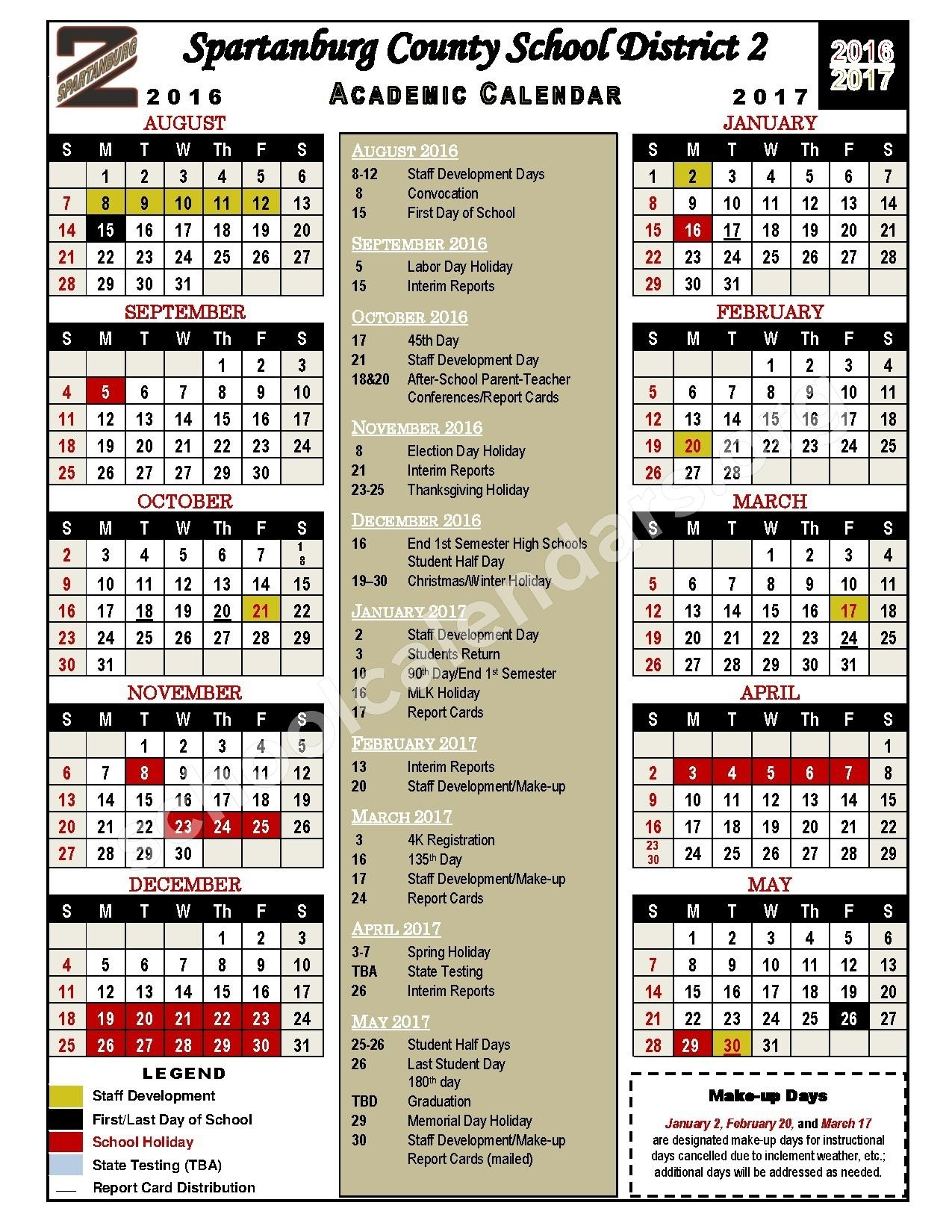2016 - 2017 Academic Calendar | Spartanburg School District 2 Incredible District 2 School Calendar