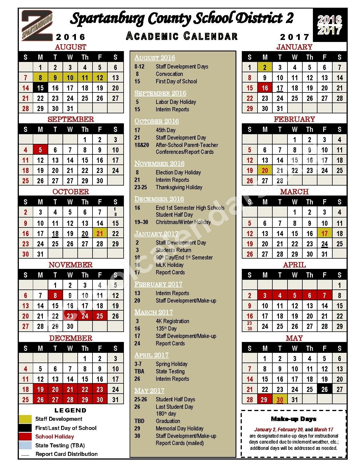 2016 - 2017 Academic Calendar | Spartanburg School District 2 Incredible School Calendar District 2