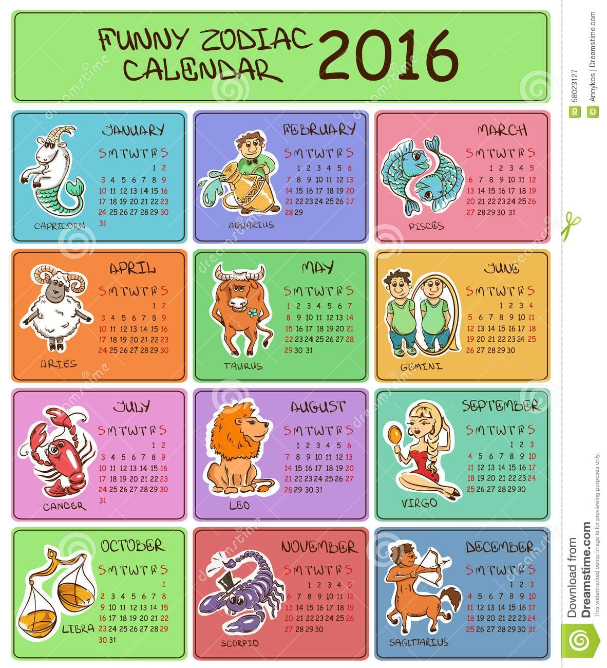 2016 Calendar Template With Zodiac Signs. Stock Vector Calendar For Zodiac Signs