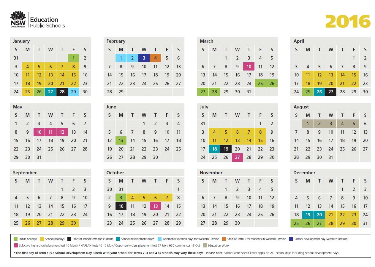 2016 School Calendar - Lake Munmorah Public School Exceptional School Calendar Nsw 2019