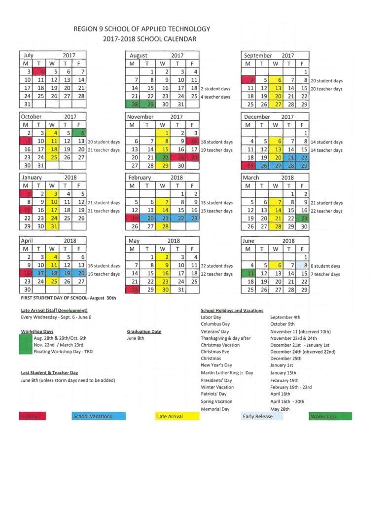 2017 -2018 Region 9 School Calendar Region 6 School Calendar