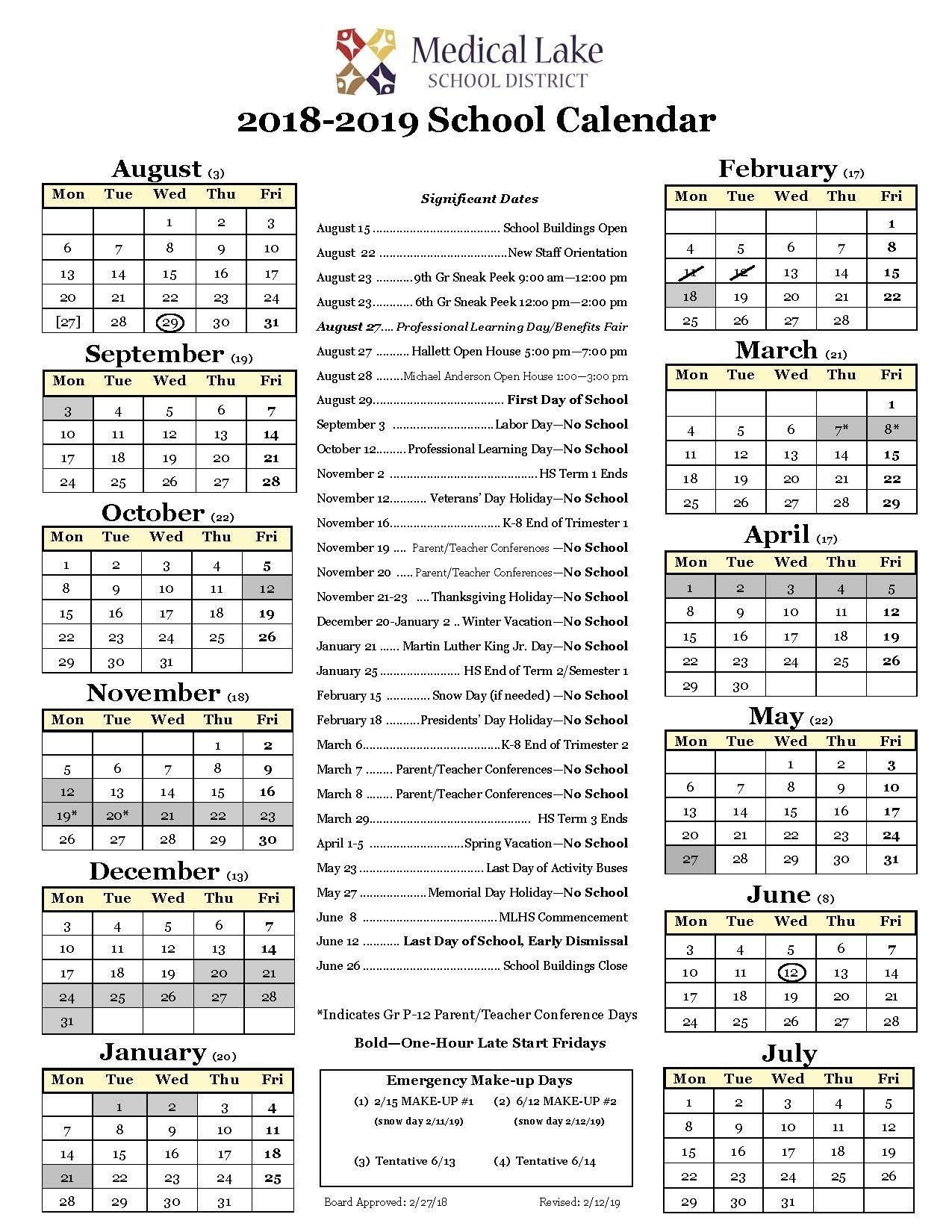 2018/19 School Year Calendar – Student / Parent Resources – Medical Perky Anderson 2 School Calendar