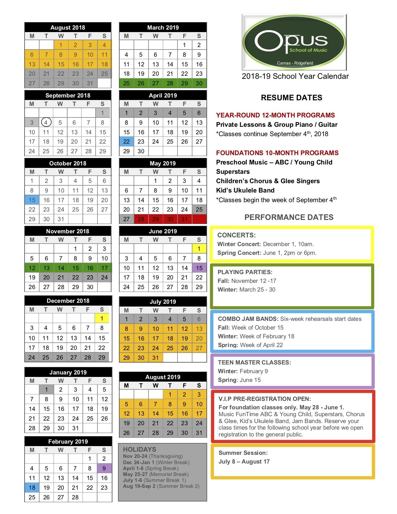 2018-19 School Year Calendar - Vancouver Ridgefield Camas Wa Copy Impressive School Calendar Vancouver Wa