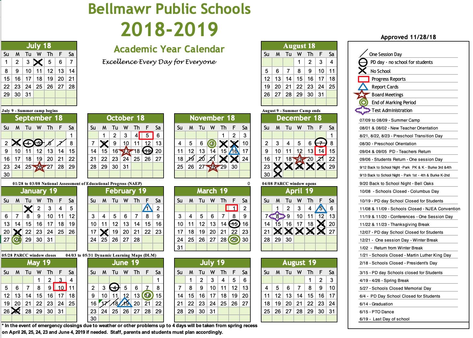 2018 - 2019 Calendar - Bellmawr Public School District Perky Anderson 2 School Calendar