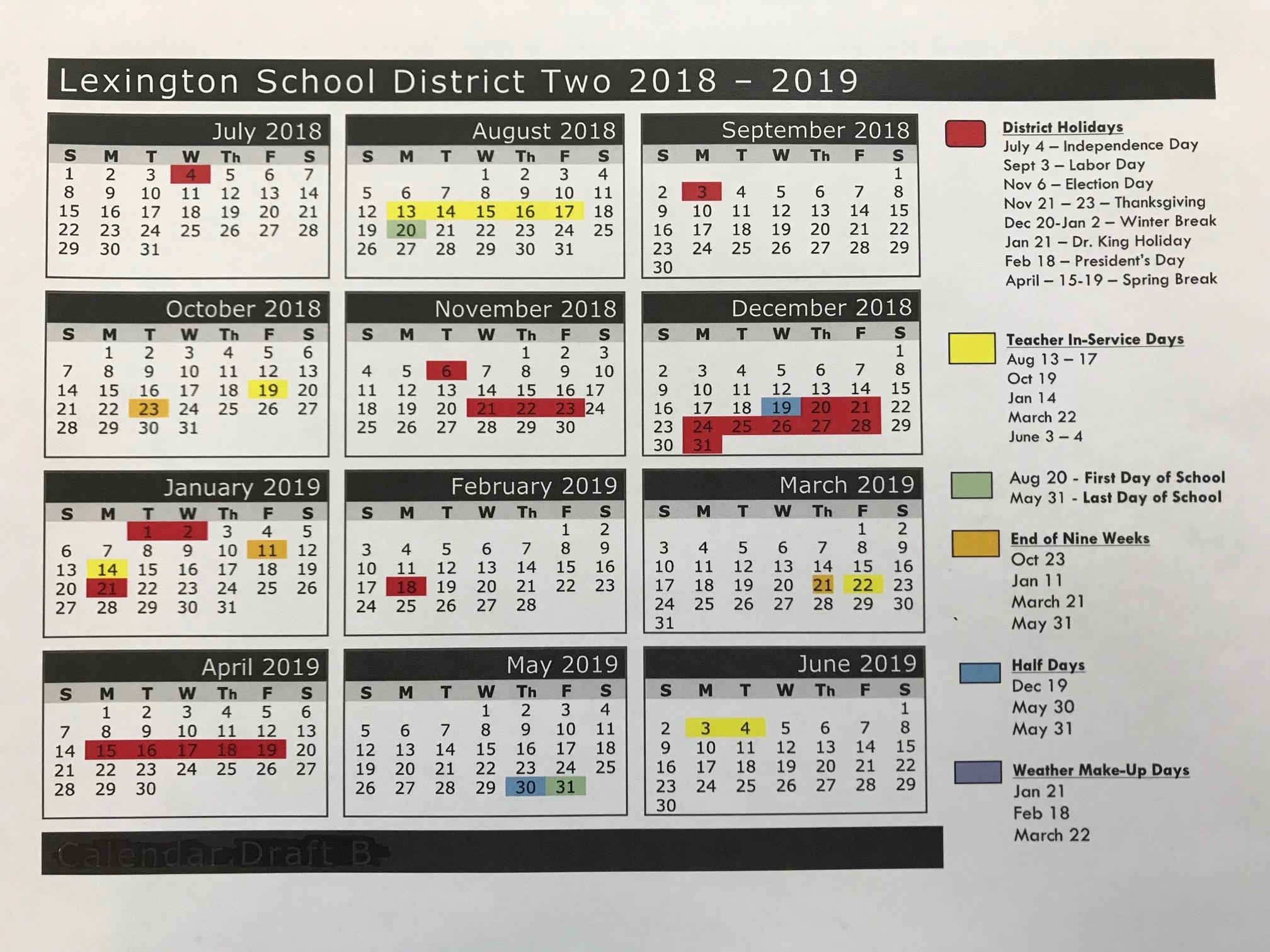 2018-2019 School Calendar – Parents – Airport High School Lexington 1 School Calendar