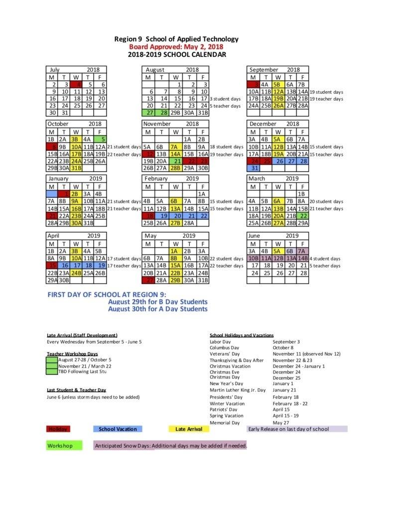 2018-2019 School Calendar Region 6 School Calendar