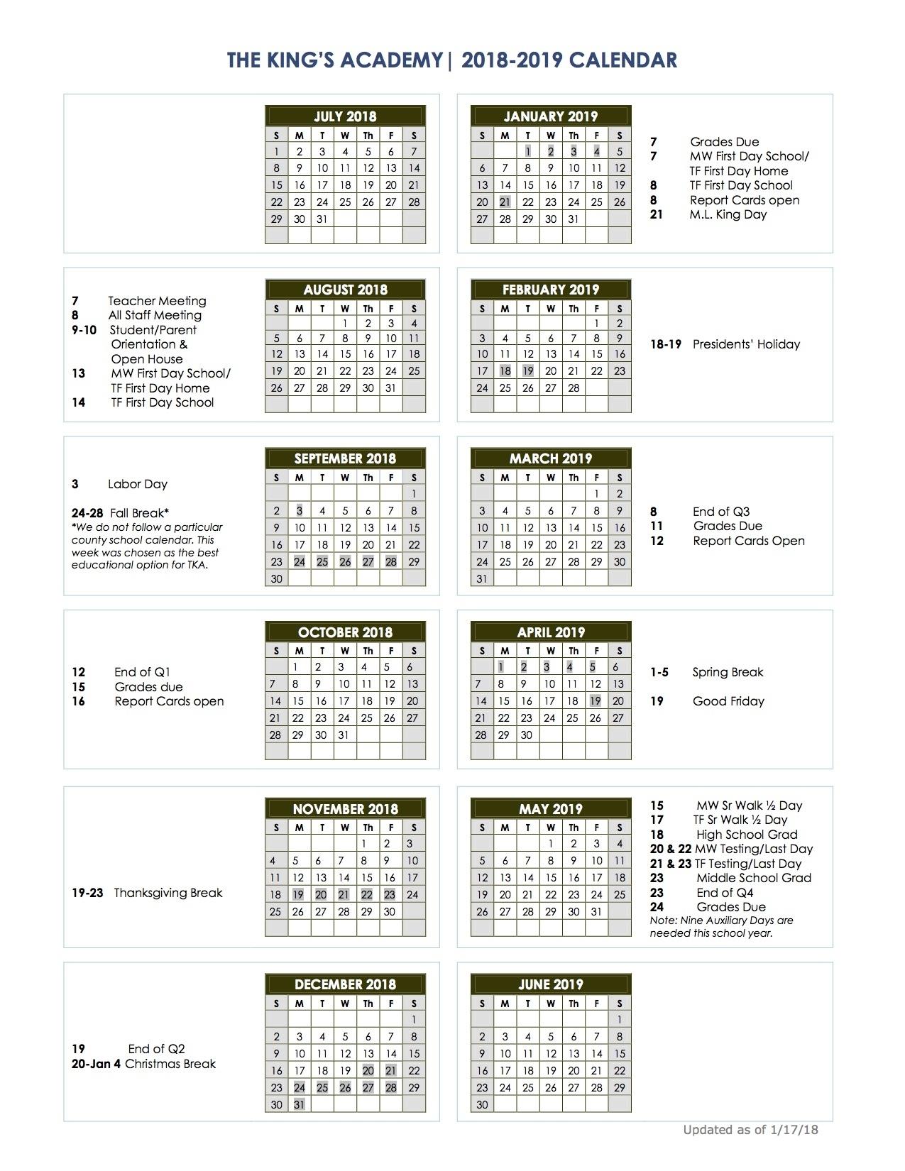 2018-2019 School Calendar - The King's Academy Impressive School Calendar Vancouver Wa