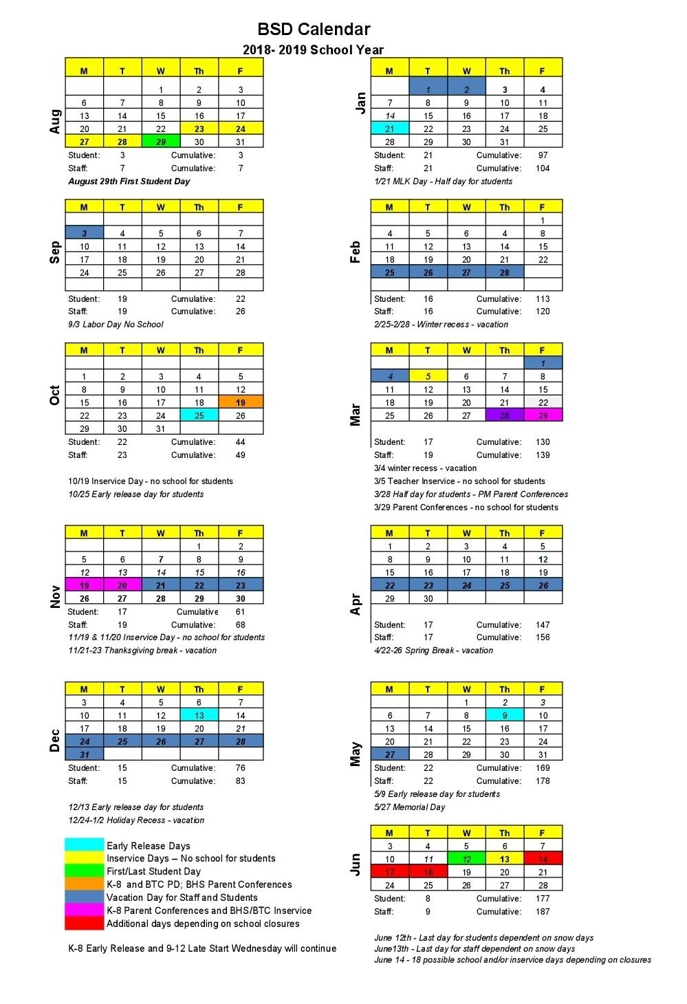 2018-2019 School Calendar Tri C School Calendar