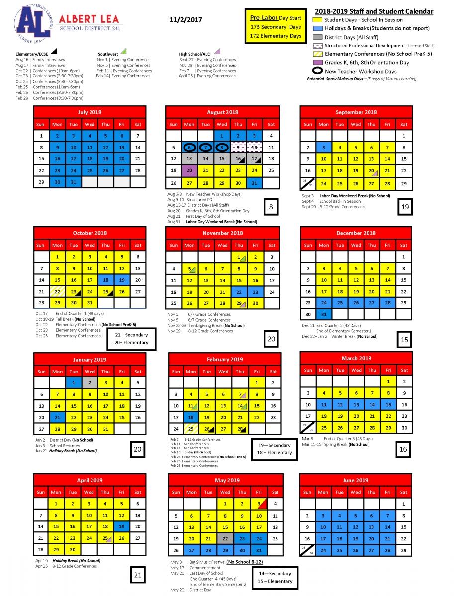 2018-2019 School Year Calendar | Albert Lea Area Schools Calendar For School Year