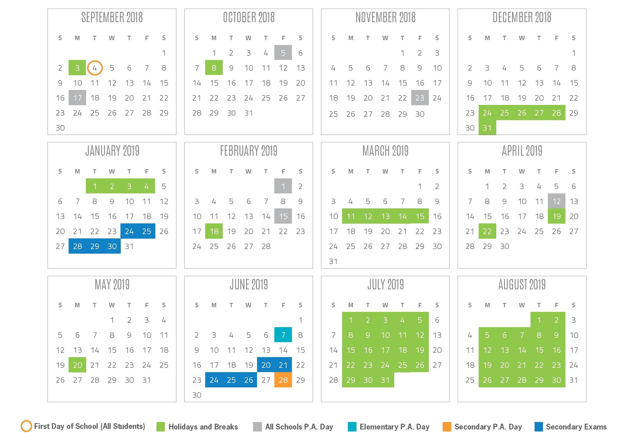 2018-2019 School Year Calendar Region 6 School Calendar
