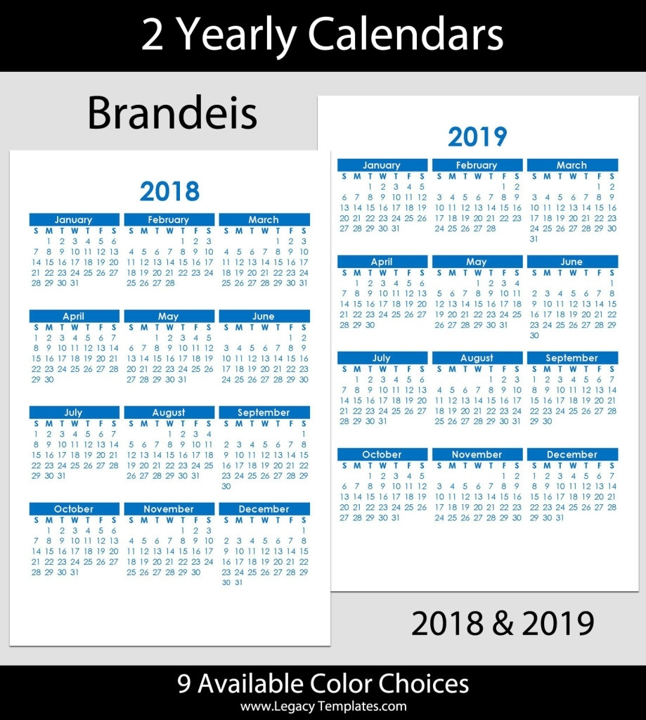 2018 & 2019 Yearly Calendar – 5.5 X 8.5 | Legacy Templates 8.5 X 14 Calendar Template