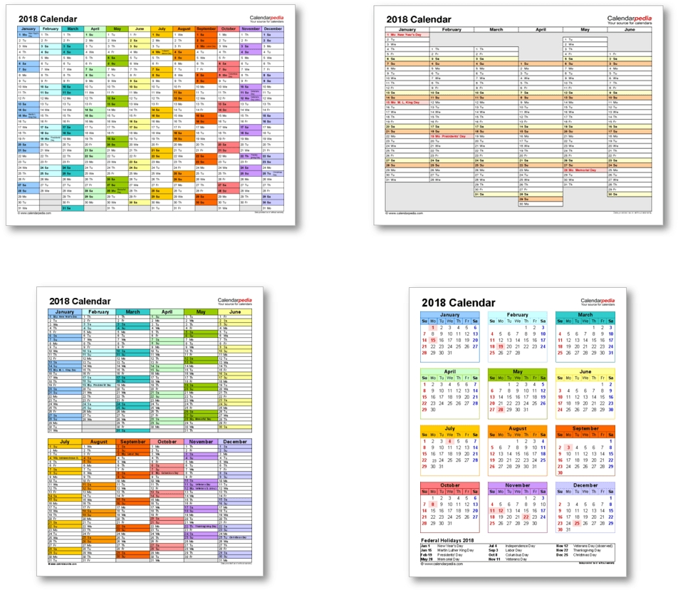 2018 Calendar With Federal Holidays & Excel/pdf/word Templates Calendar Template Date And Time