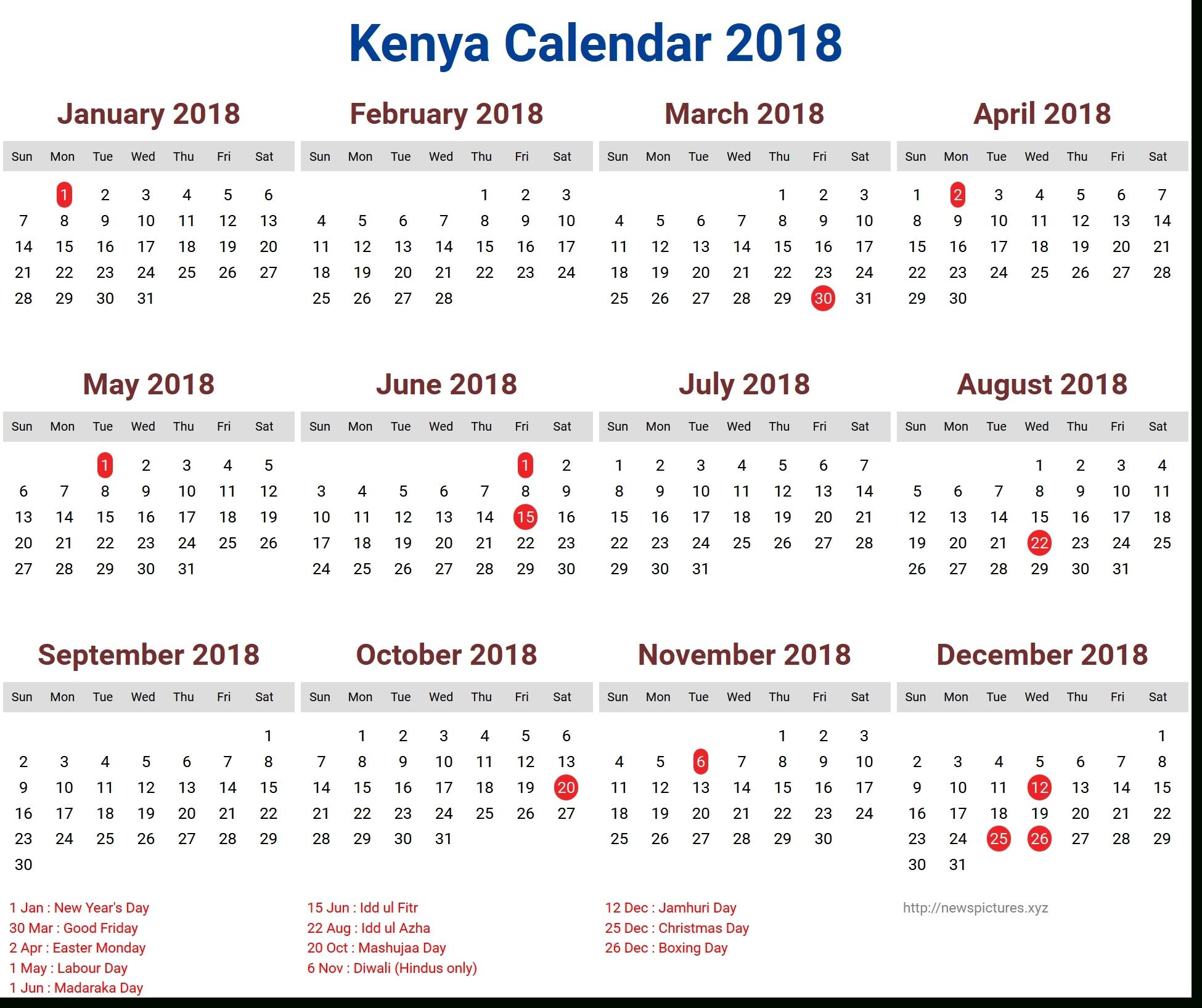 2018 Calendar With Kenya Holidays – Template Calendar Design Calendar Holidays In Kenya