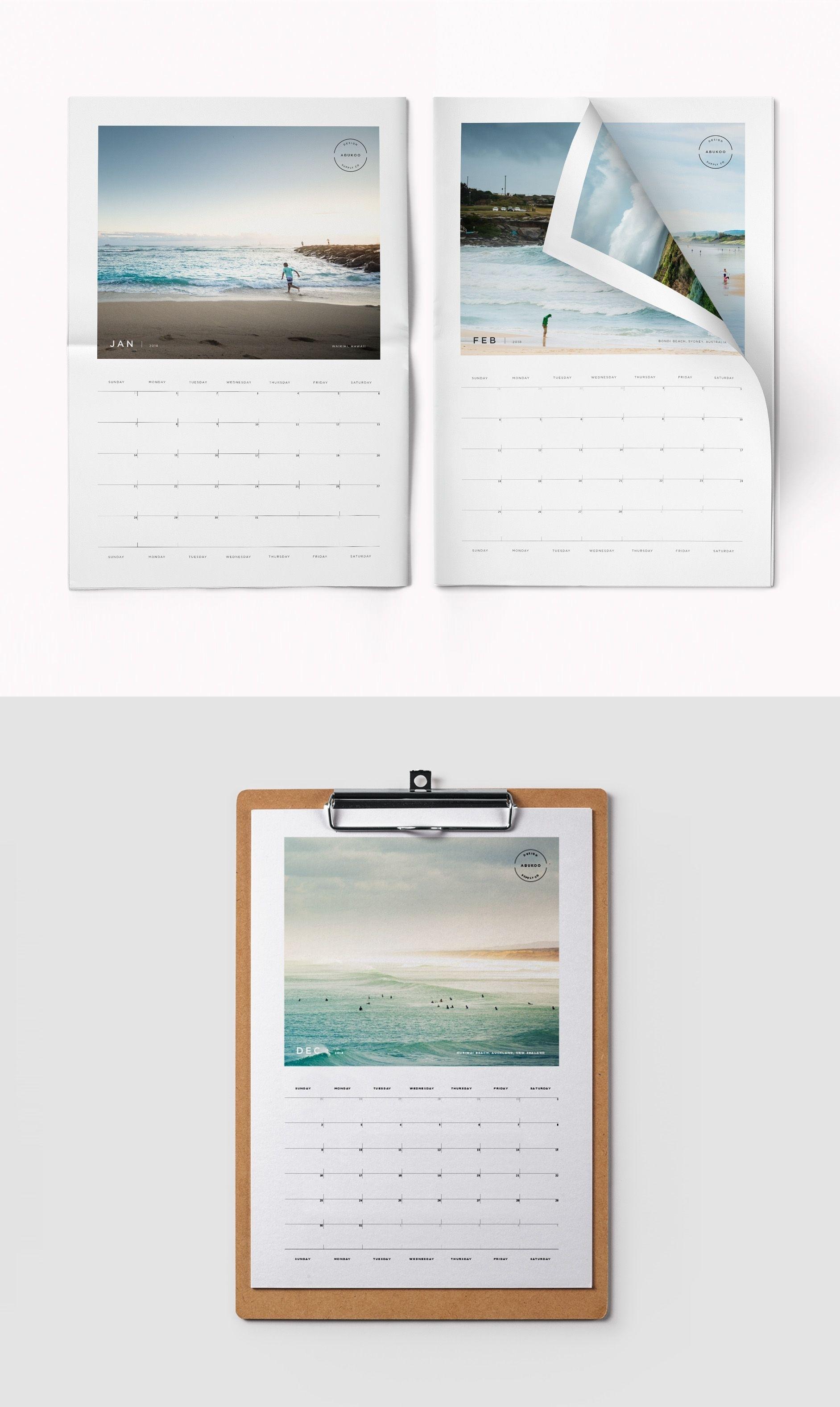 2018 Printable Photo Calendar   Indesign Template   Graphic Design Calendar Template Add Your Own Photos
