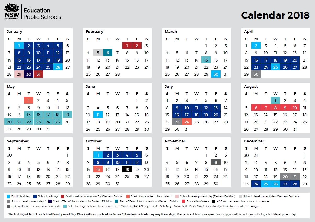 2018 School Calendar - Ryde Public School School Calendar Nsw 2019