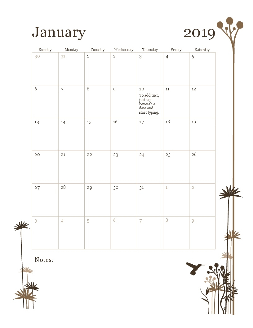 2019 12-Month Calendar (Sun-Sat) Print Blank Calendar Office 365