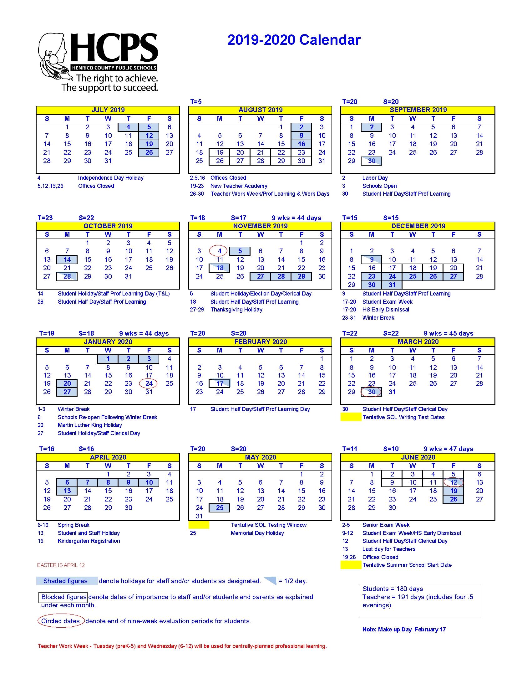 2019-20 Henrico County Public Schools Calendar – Approved – Henrico Exceptional 9 Week School Calendar
