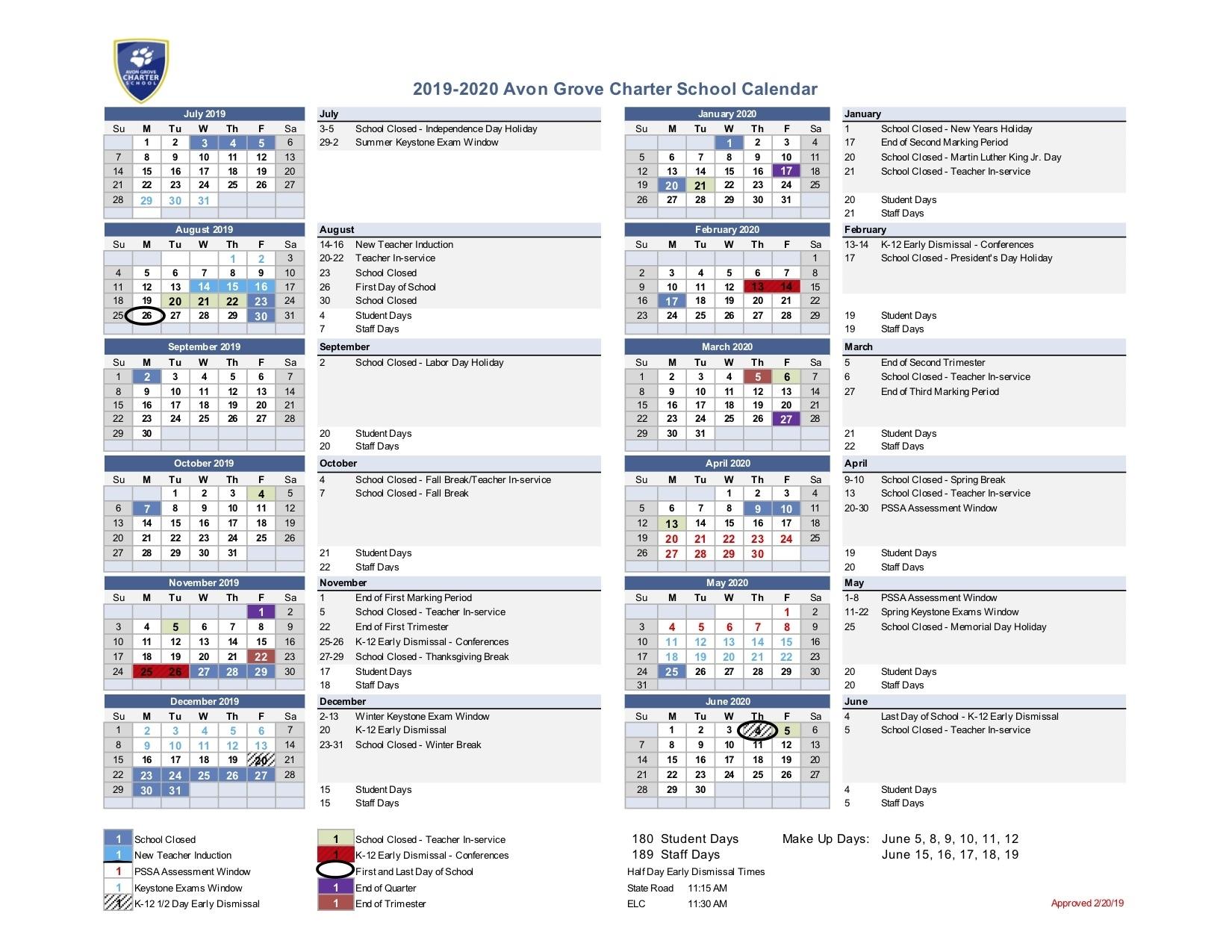 2019-2020 Approved Academic Calendar - Avon Grove Charter School Remarkable Tri C School Calendar