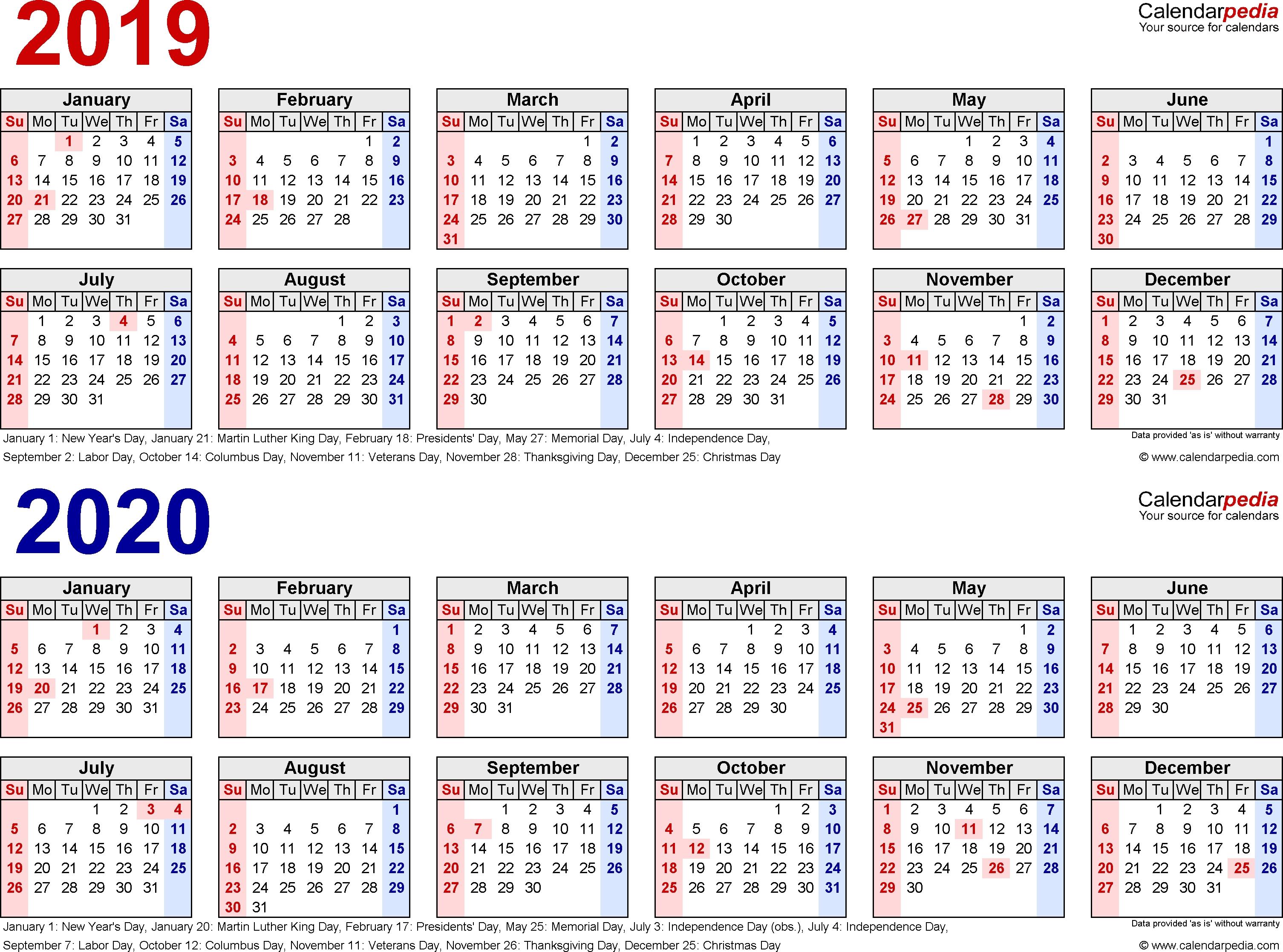 2019-2020 Calendar - Free Printable Two-Year Excel Calendars 2020 Calendar India Holidays