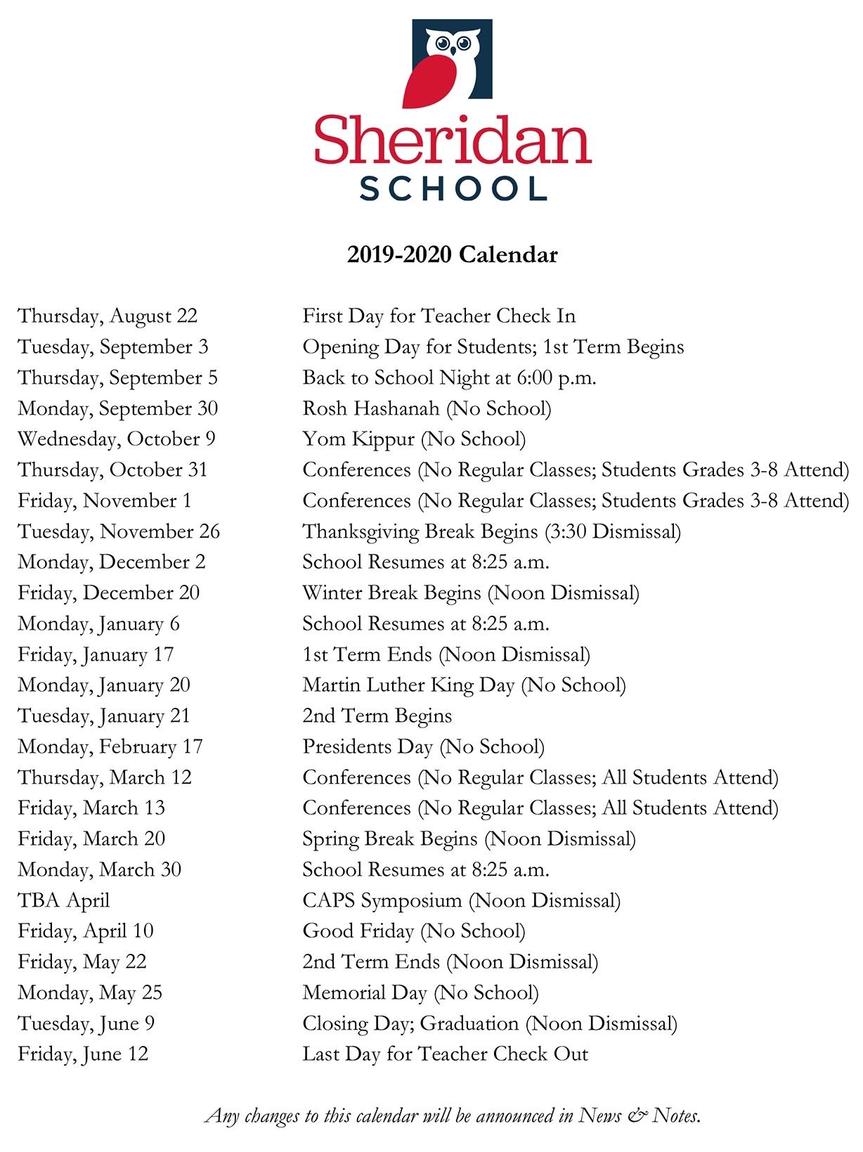 2019-2020 Calendar - Sheridan School November 3 2020 Calendar