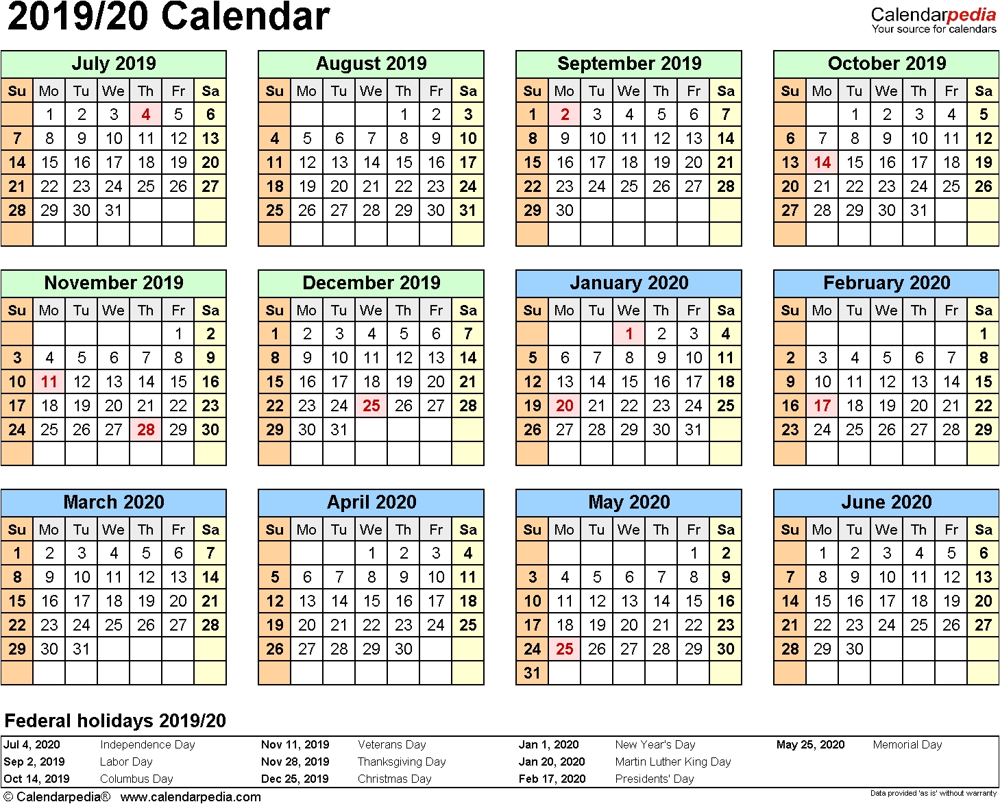 2019 2020 Printable Calendar Split Year Calendar 2019 20 July To Extraordinary Free Printable 2020 Yearly Calendar With Holidays