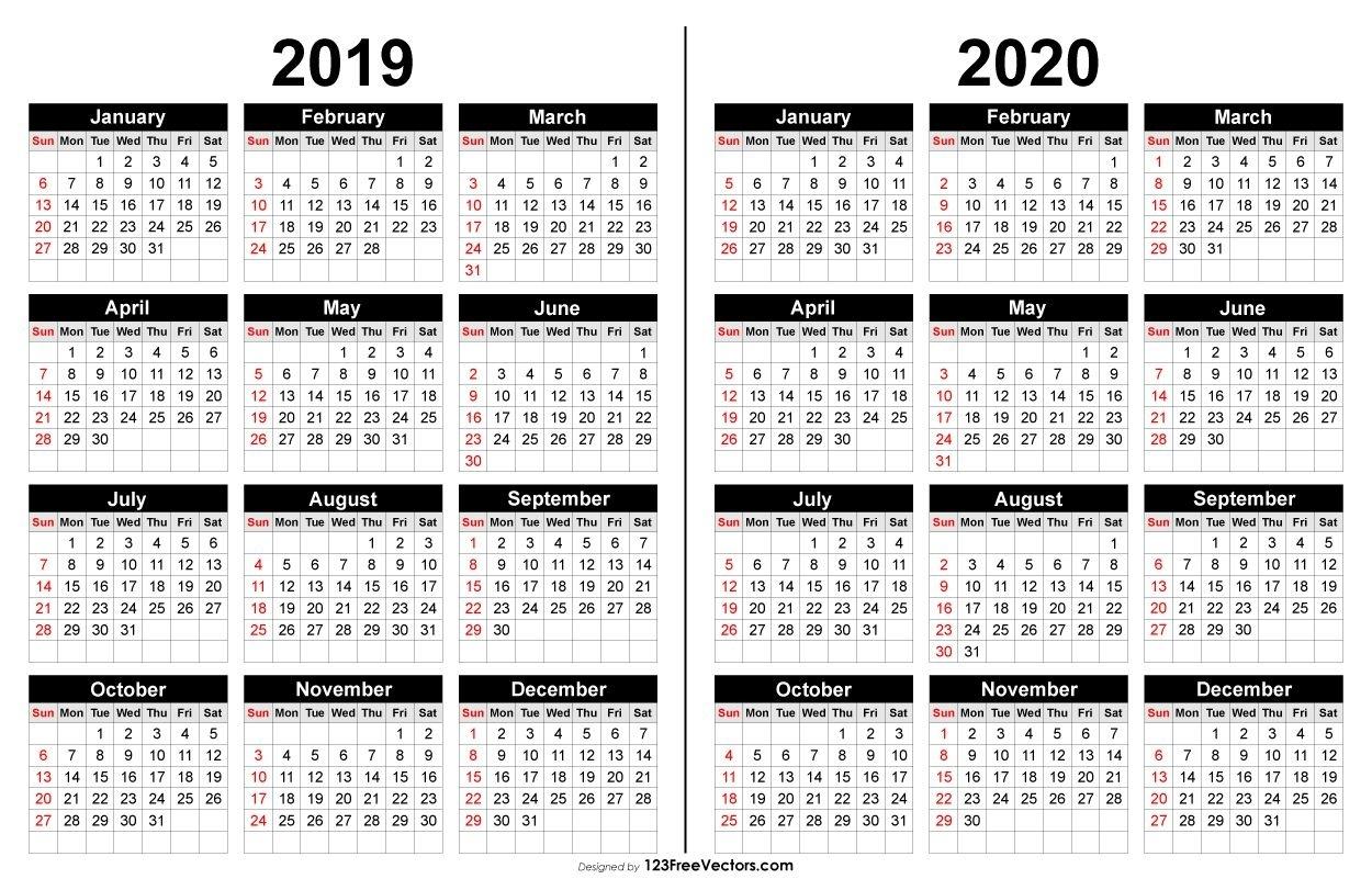 2019 And 2020 Calendar Printable | 2019 Calendar | Calendar, 2019 Remarkable 2020 Calendar Free Download