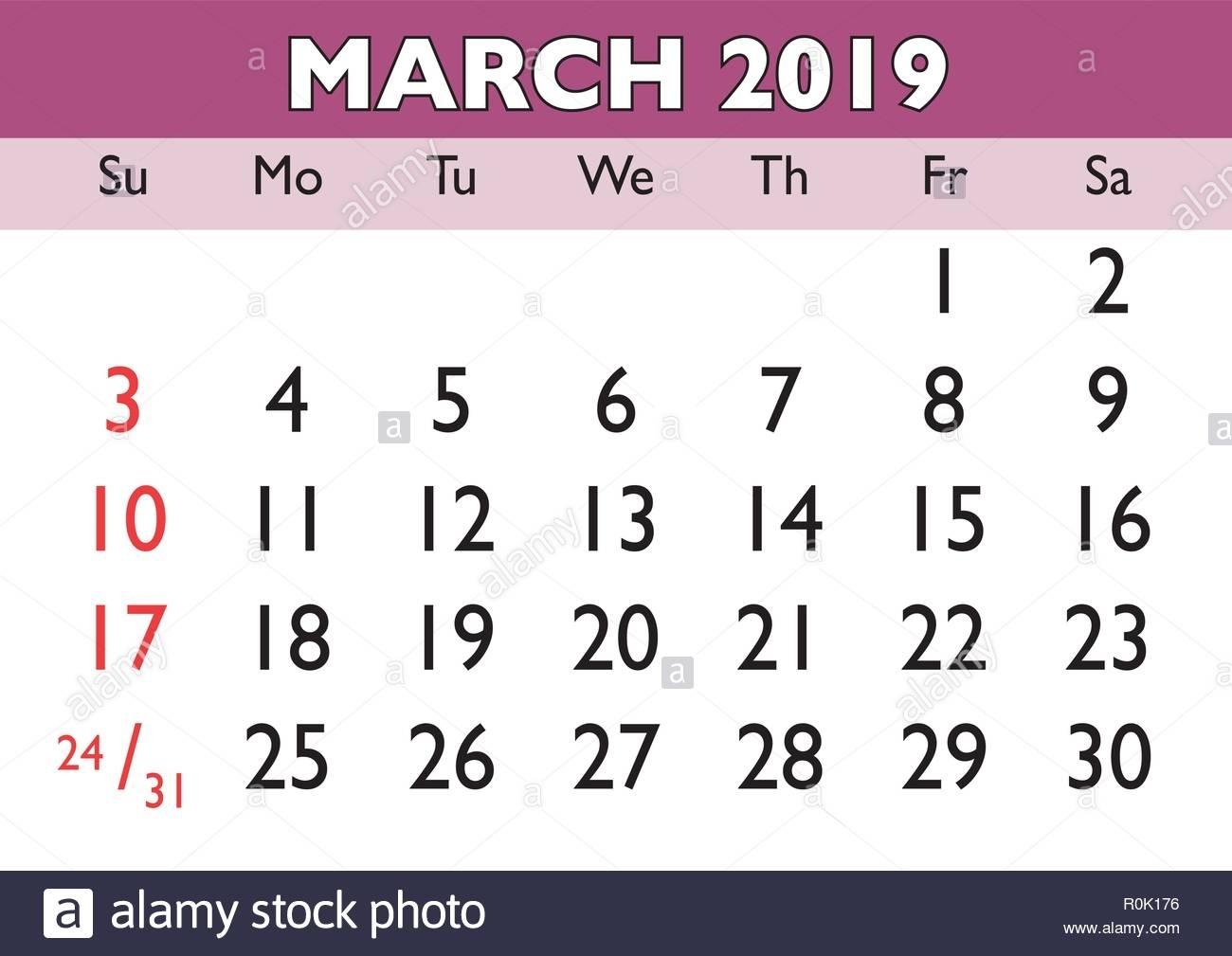 2019 Calendar March Month. Vector Printable Calendar. Monthly Is A Calendar Month 4 Weeks