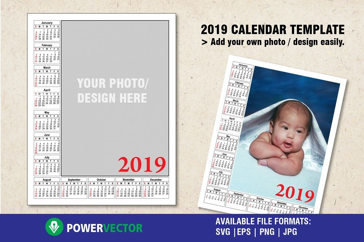 2019 Calendar Template To Add Your Own Photo Or Design Calendar Template Add Your Own Photos