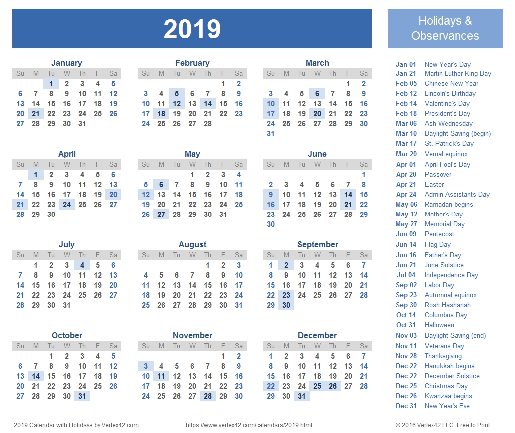 2019 Calendar Templates And Images Calendar Template By Vertex42