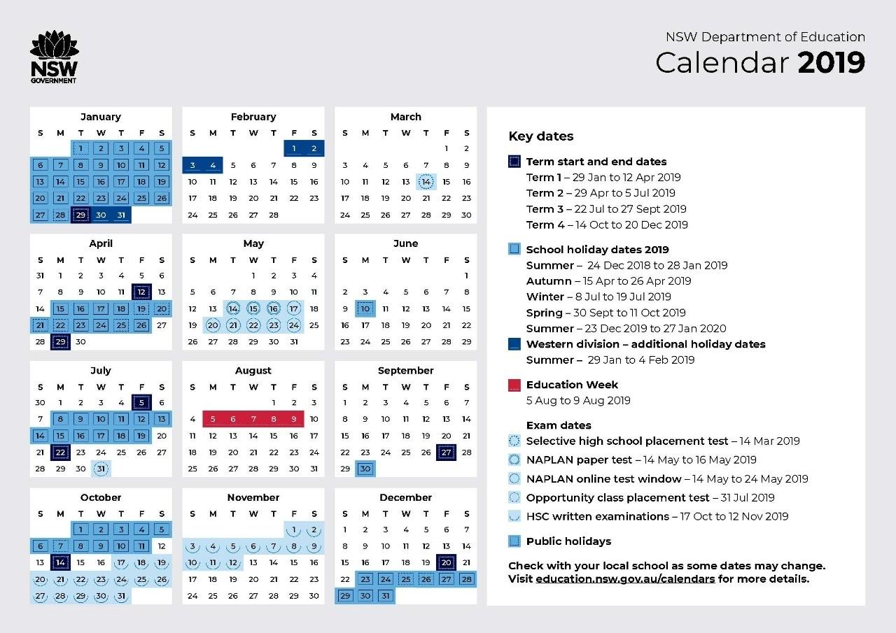 2019 Calendar - Toronto High School Exceptional School Calendar Nsw 2019