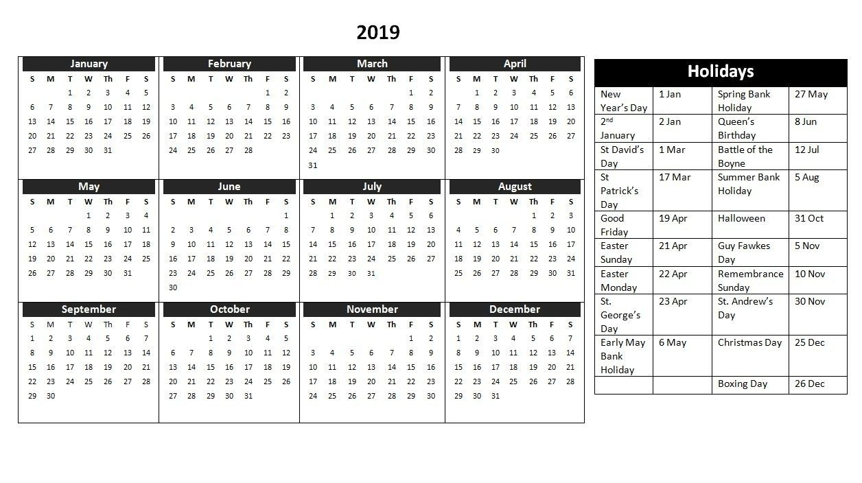 2019 Holiday Calendar Uk | Yearly Calendar In One Page | Holiday 3 Month Calendar Uk