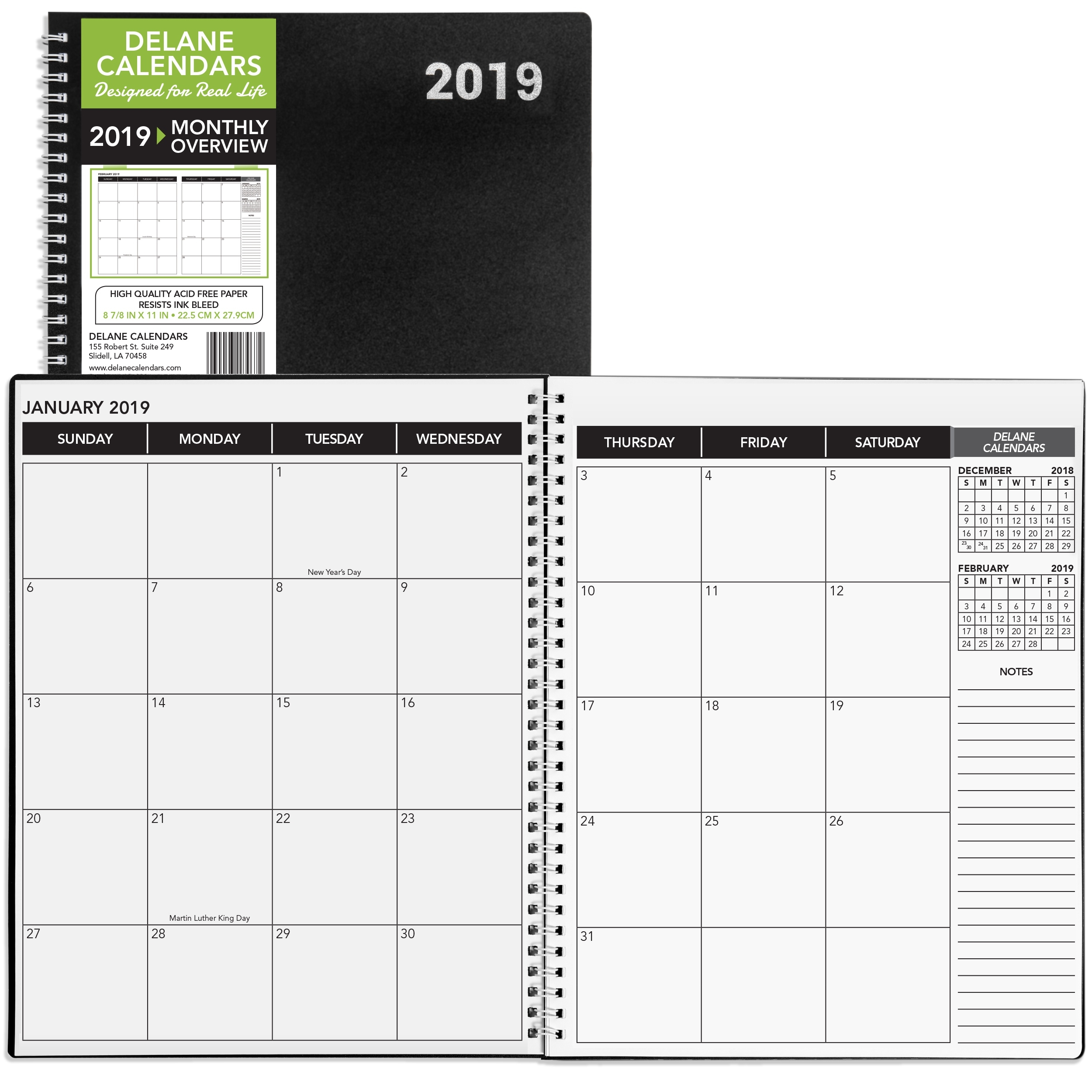 2019 Monthly Daily Planner Calendar / Appointment Book, Black Cover Monthly Calendar 8.5 X 11