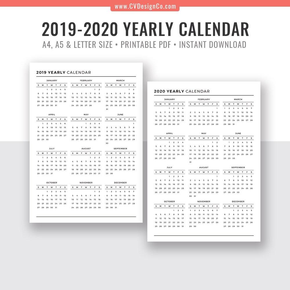 2019 Yearly Calendar And 2020 Yearly Calendar, 2019 – 2020 Yearly 8.5 X 14 Calendar Template