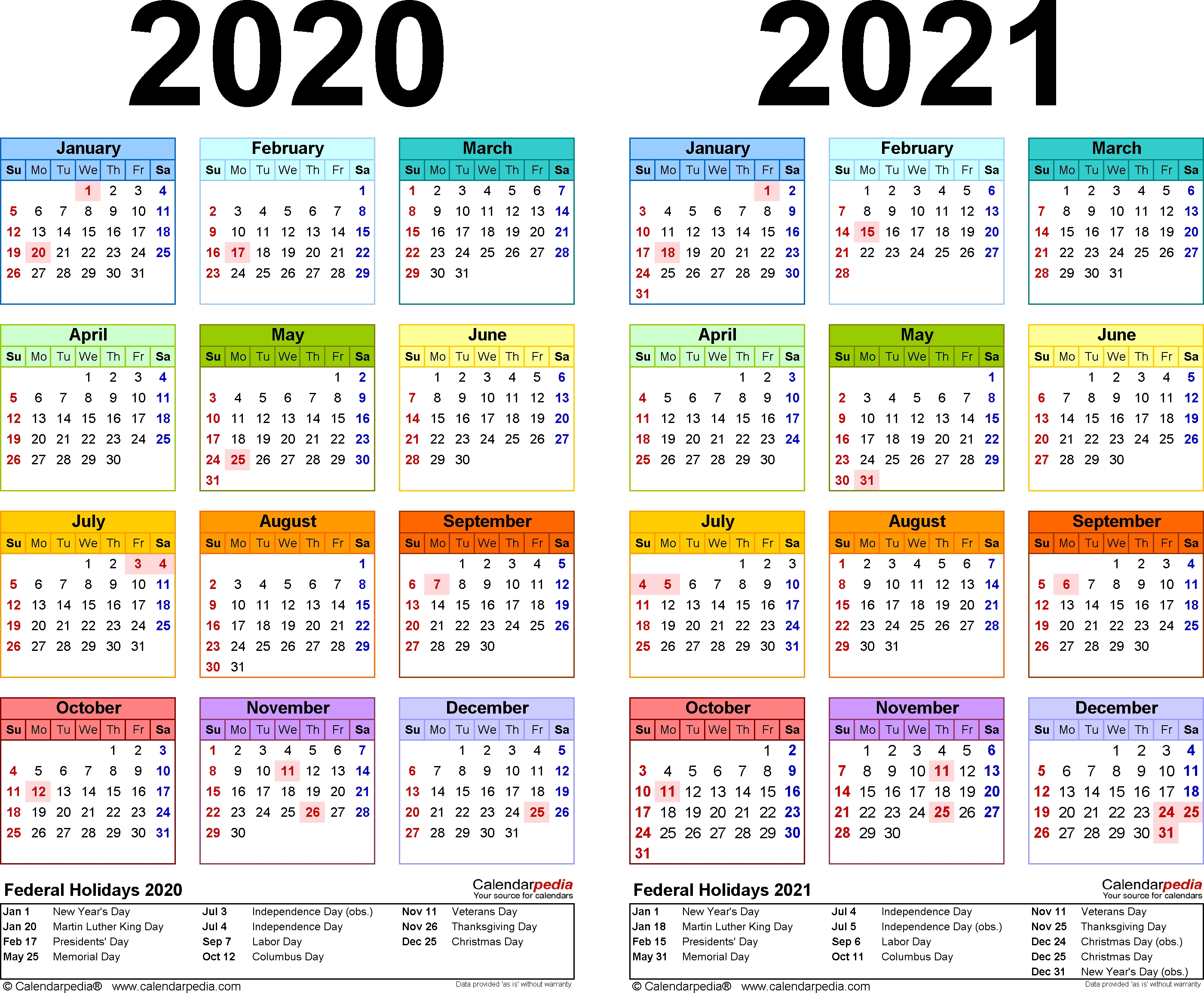 2020-2021 Calendar - Free Printable Two-Year Pdf Calendars 2020 Calendar Philippines With Holidays