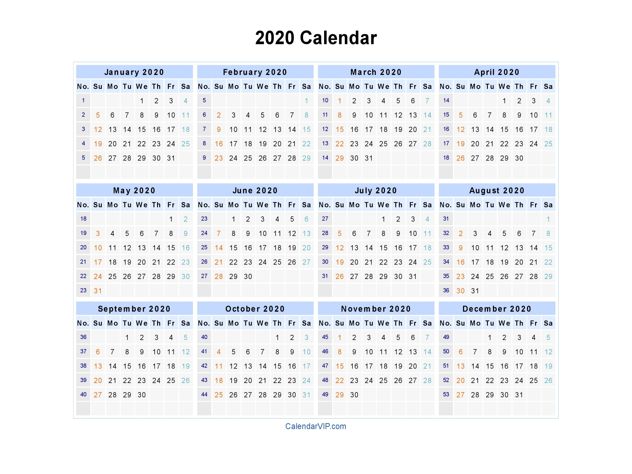 2020 Calendar - Blank Printable Calendar Template In Pdf Word Excel Remarkable 2020 Yearly Calendar Template Word