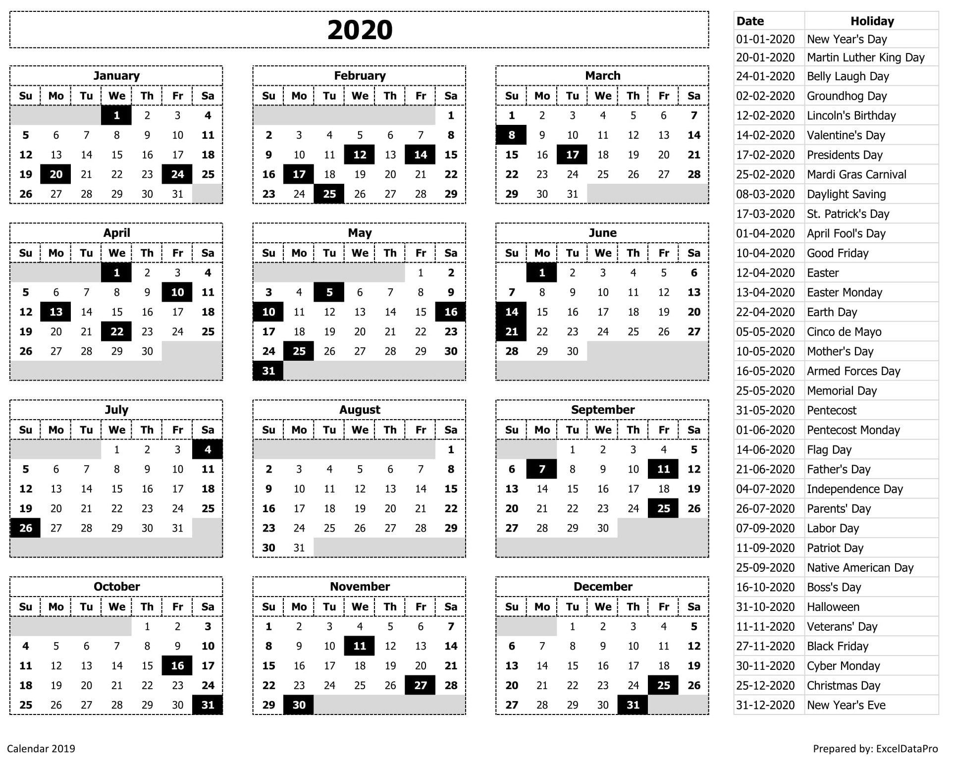 2020 Calendar Excel Templates, Printable Pdfs & Images - Exceldatapro 2020 Calendar Holiday List