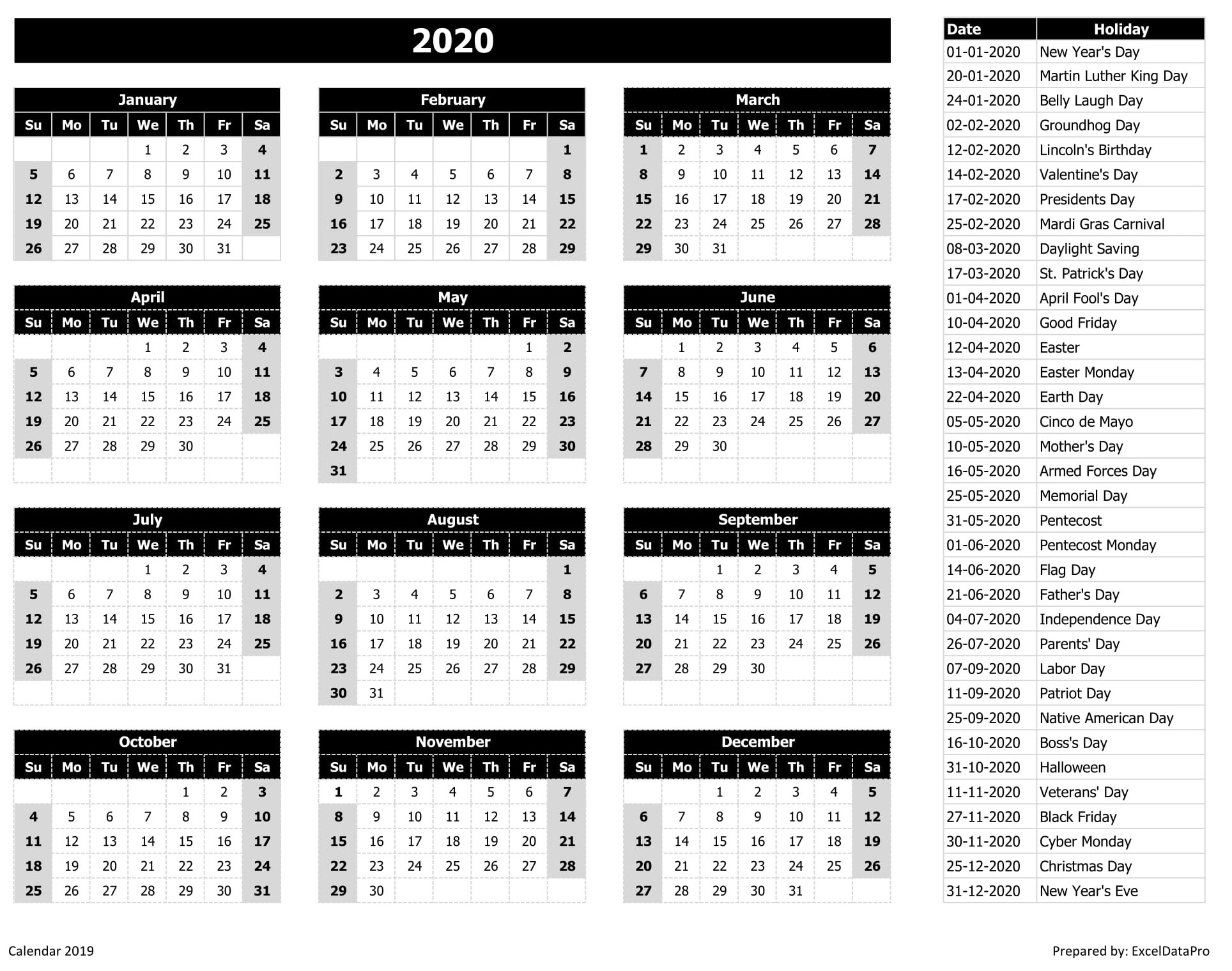 2020 Calendar Excel Templates, Printable Pdfs & Images - Exceldatapro Exceptional 2020 Calendar Holiday List
