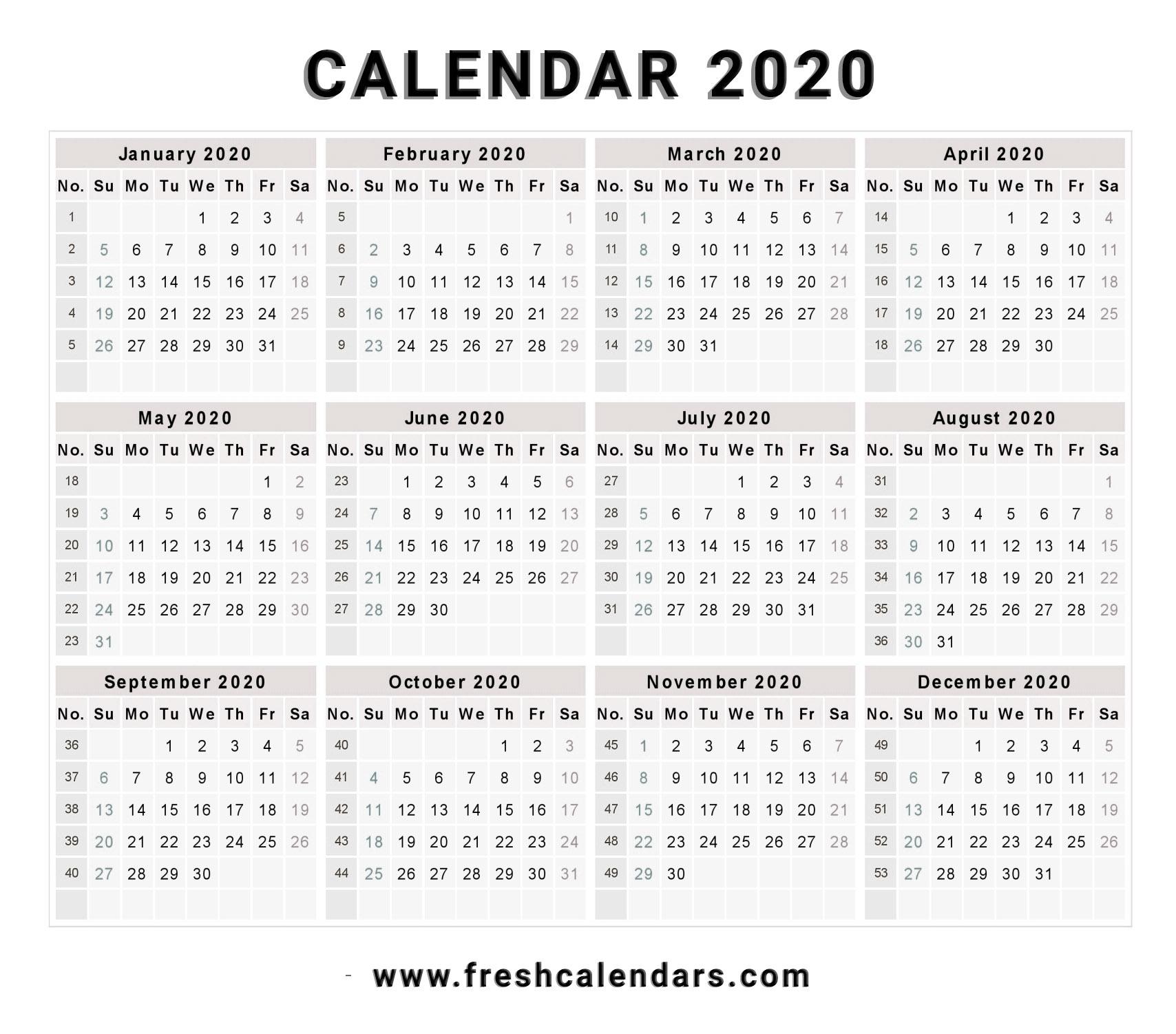 2020 Calendar Remarkable 2020 Calendar Free Download