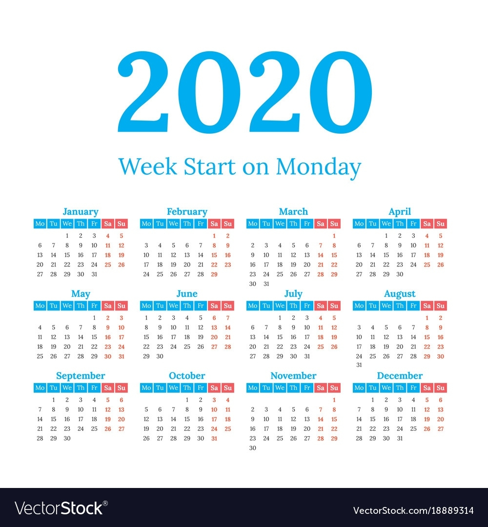 2020 Calendar Start On Monday Royalty Free Vector Image 2020 Calendar Starting On Monday