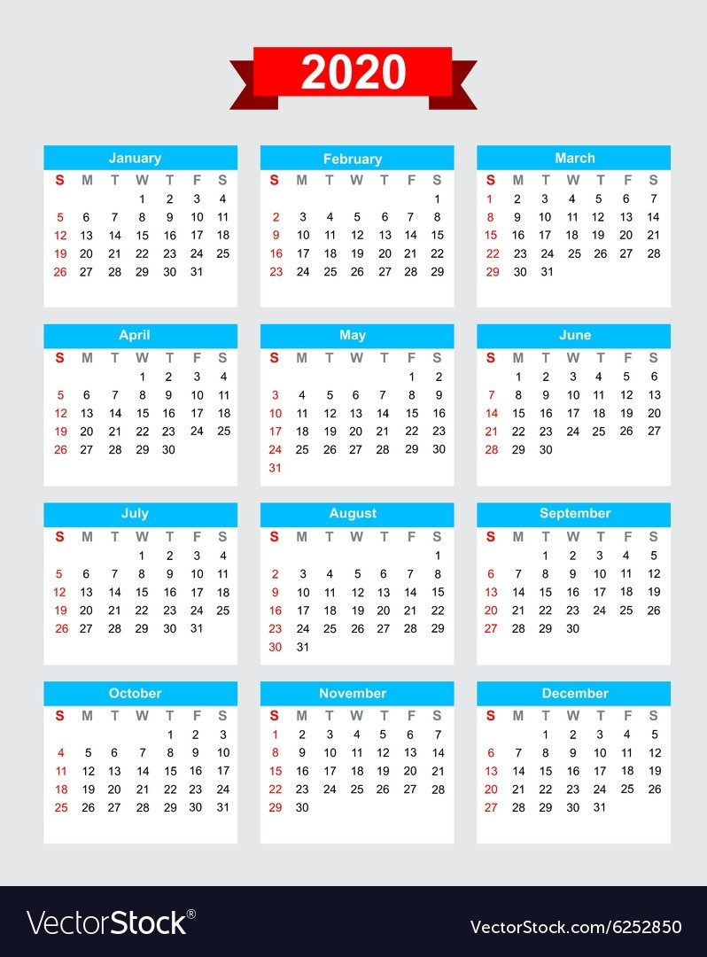 2020 Calendar Week Start Sunday Royalty Free Vector Image Perky 2020 Calendar Starting On Monday