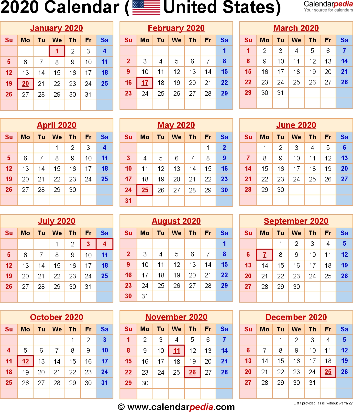 2020 Calendar With Federal Holidays & Excel/pdf/word Templates Free Printable 2020 Yearly Calendar With Holidays