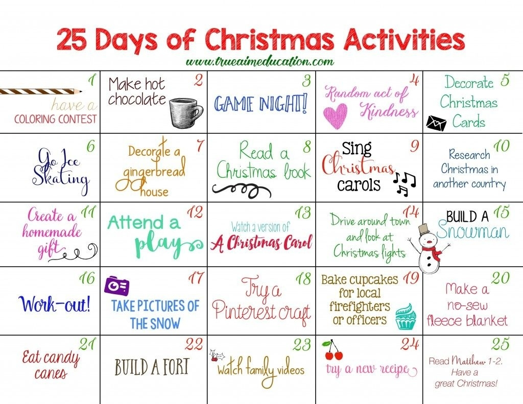 25 Days Of Christmas Activities Advent Calendar | Arts & Crafts For Advent Calendar Quiz Template