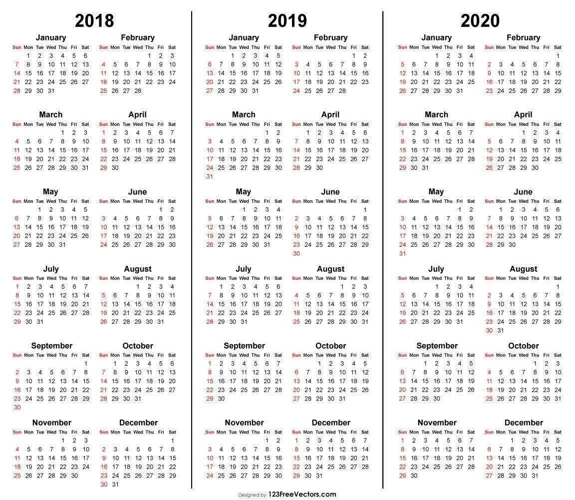 3 Year Calendar 2018 2019 2020 Printable | 2019 Calendar | Calendar Remarkable 2020 Calendar Free Download