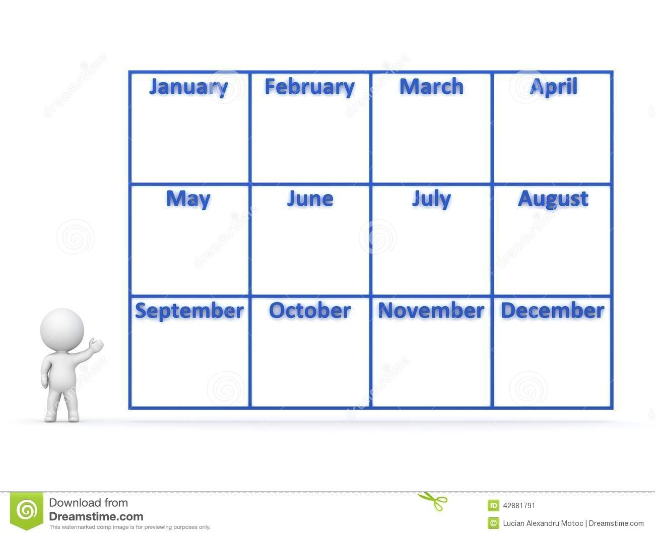 3D Character Showing Year Calendar With 12 Months Stock Illustration Months Of Year Calendar