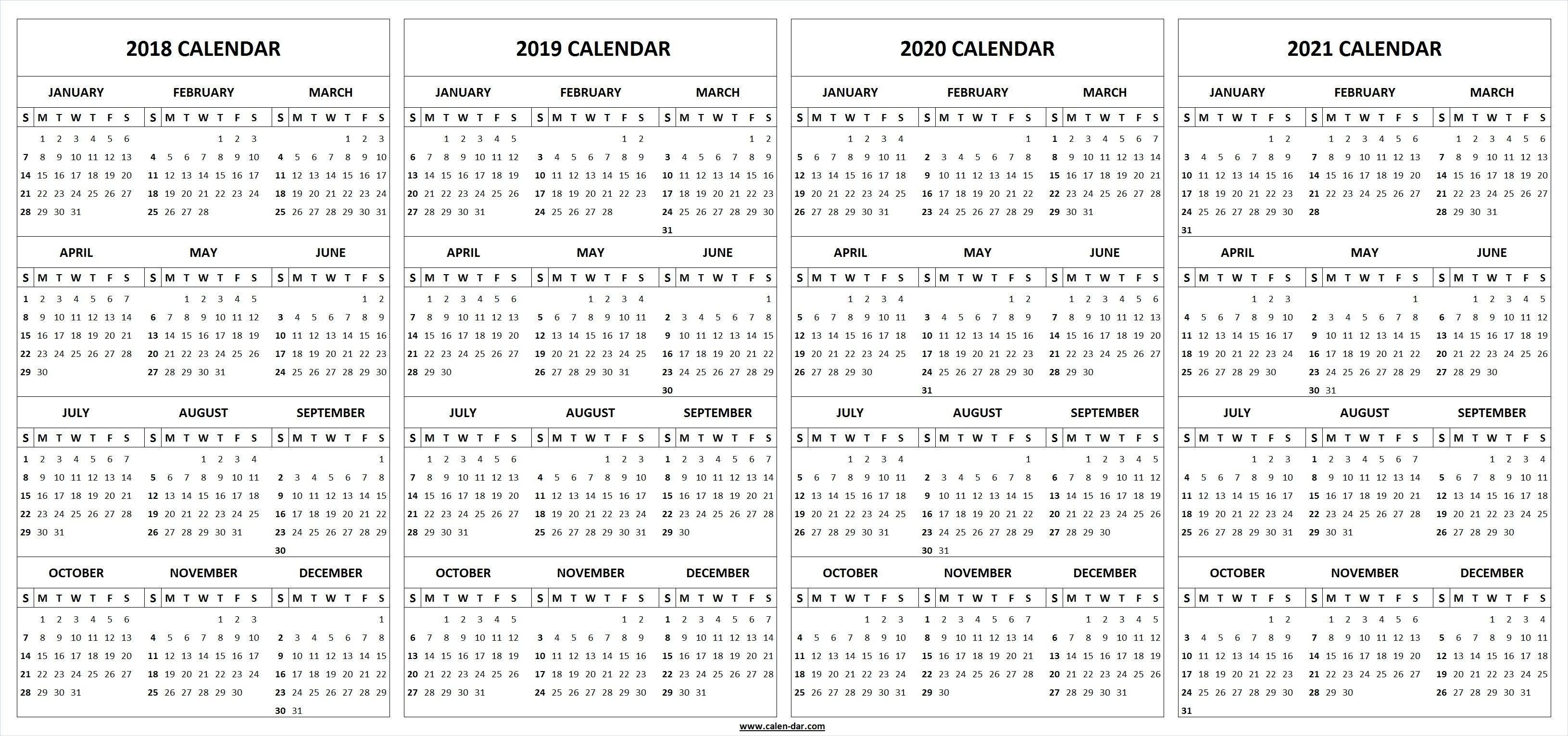 4 Four Year 2018 2019 2020 2021 Calendar Printable Template Perky 2020 Calendar Template Indesign