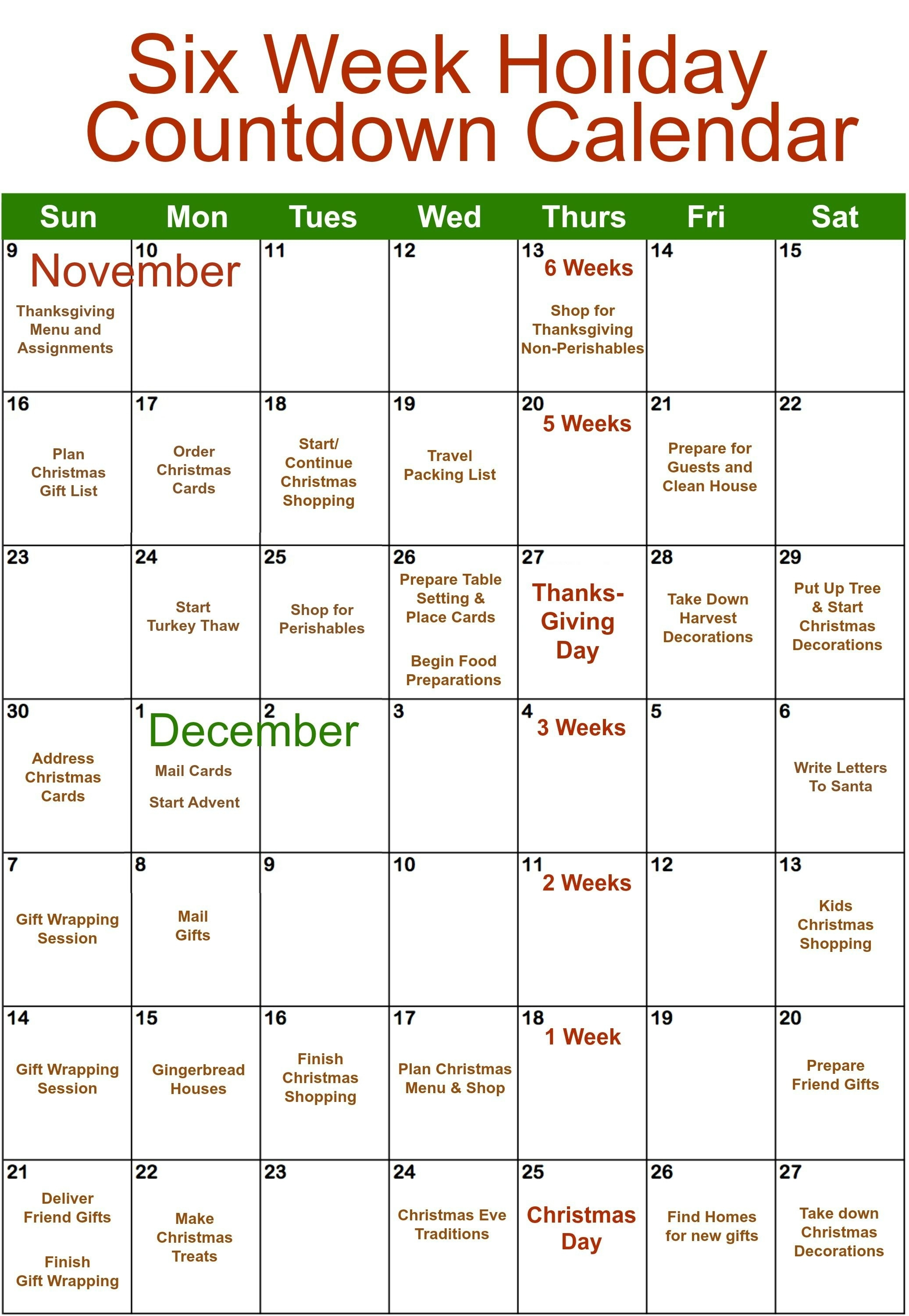 6 Week Holiday Organizing | Falling In Love With Fall | Holiday Countdown Calendar In Weeks