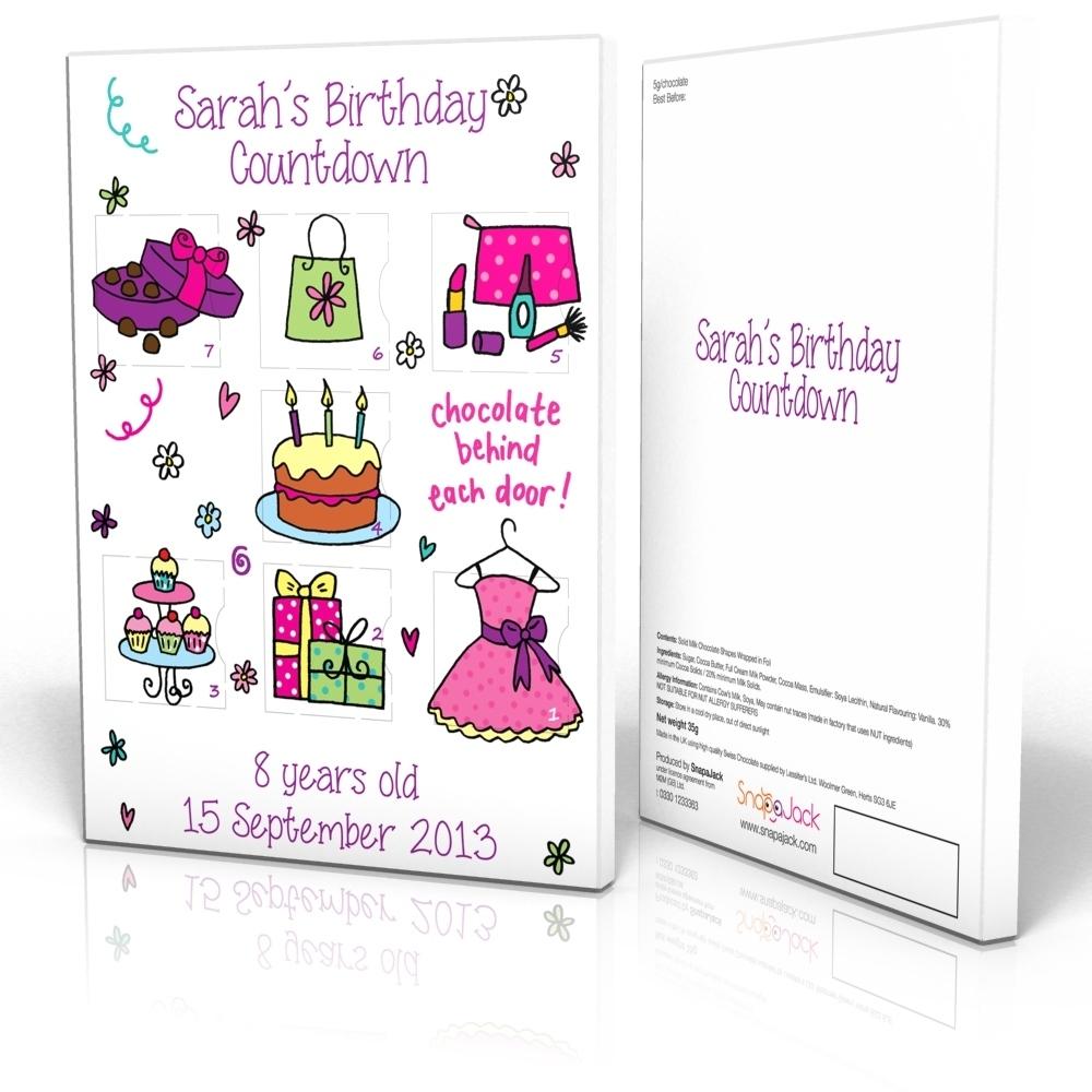 7 Day Calendar - Girl Birthday - Snapajack 7 Day Countdown Calendar