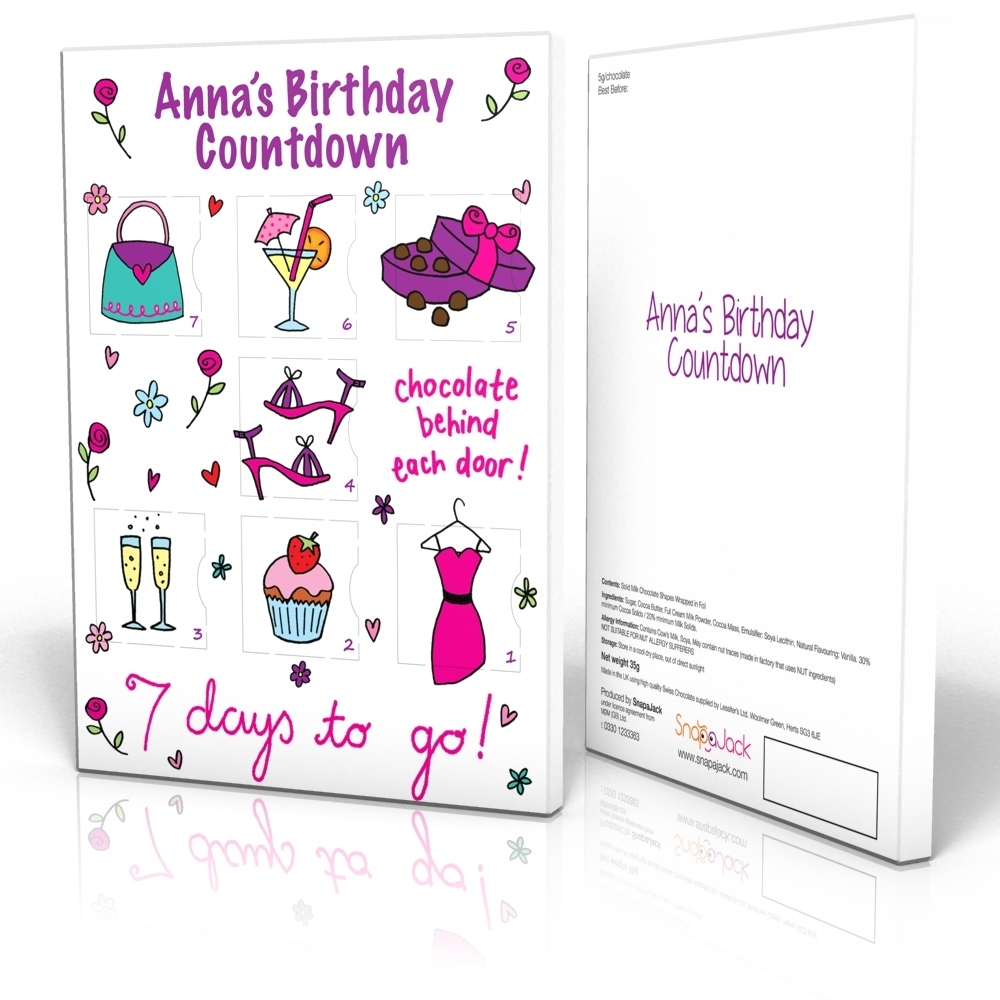 7 Day Calendar - Girlie Birthday 7 Day Countdown Calendar