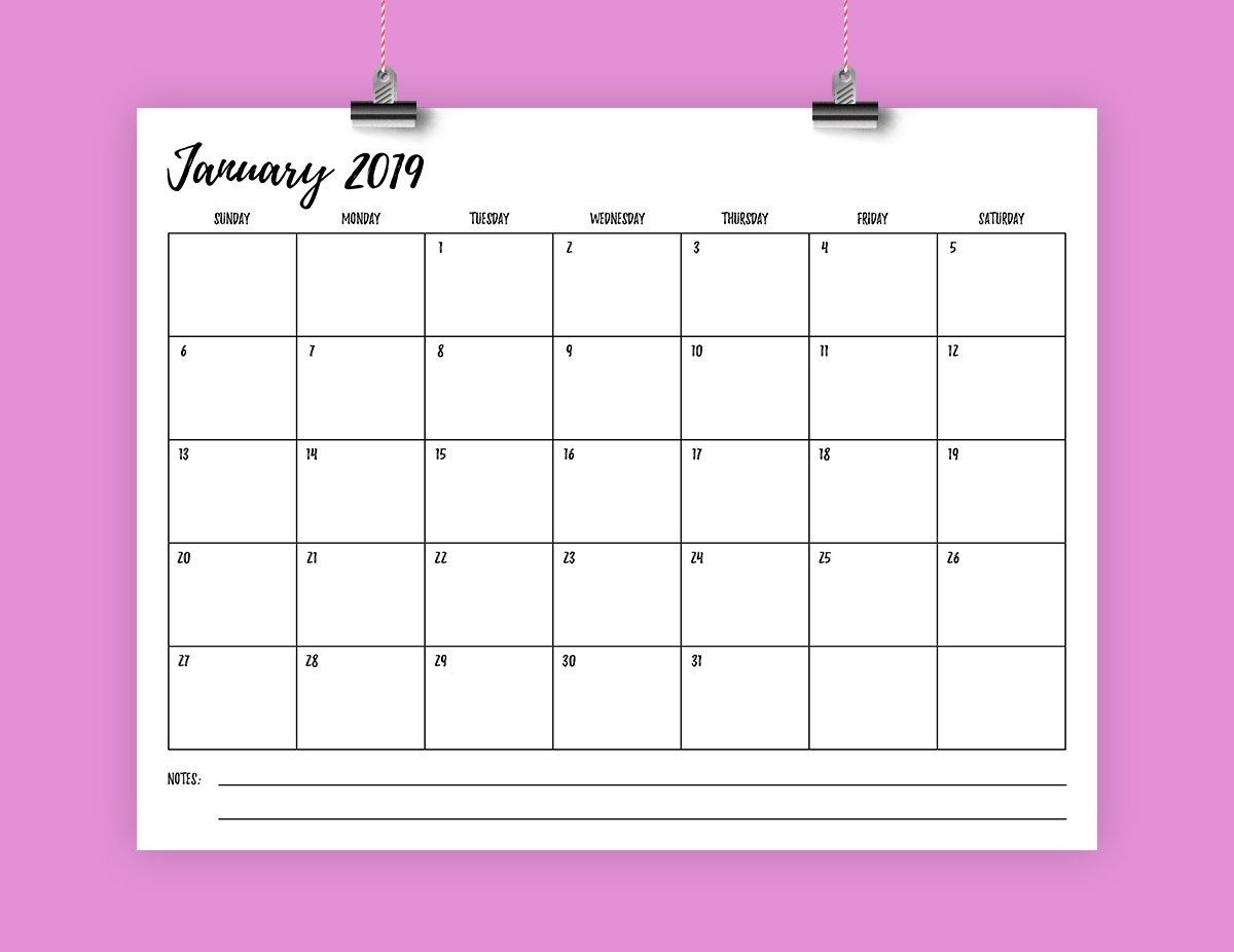 8.5 X 11 Inch 2019 Calendar Template Instant Download | Etsy Calendar Template 8.5 X 11