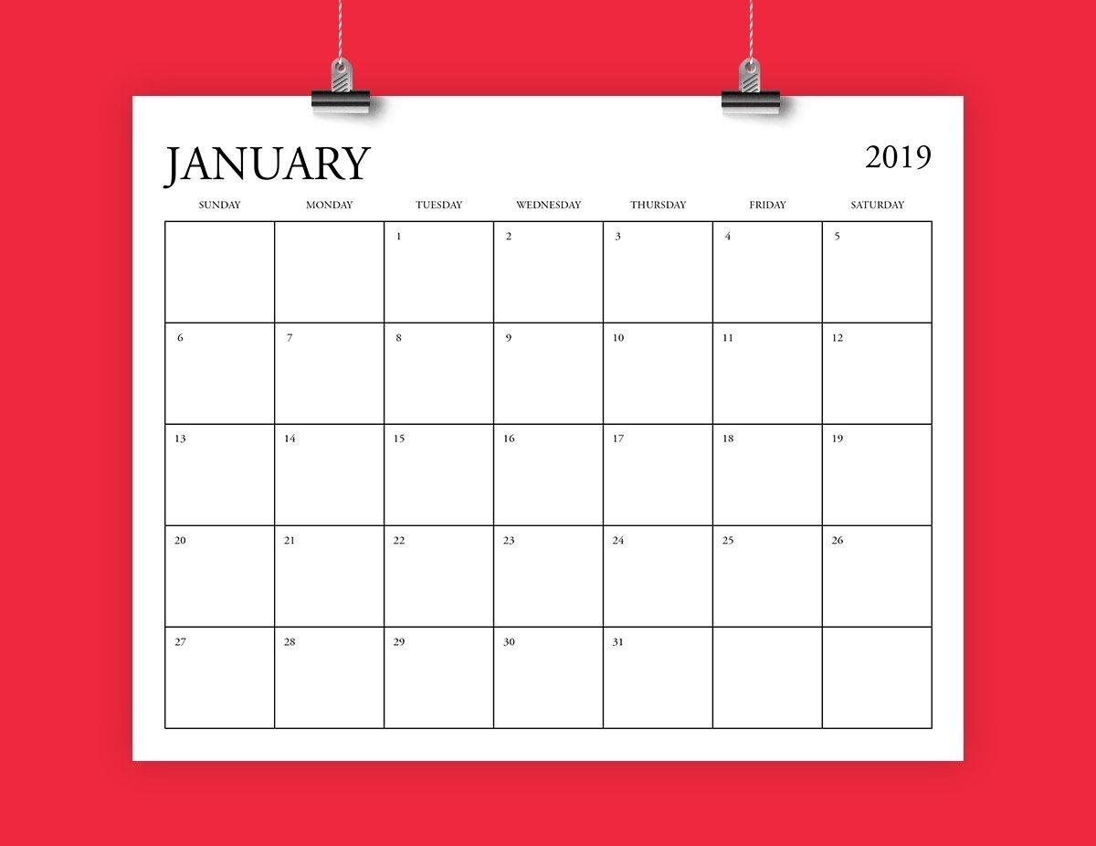 8X10 Inch 2019 Calendar Template Fits 8.5 X 11 | Etsy 8.5 X 14 Calendar Template